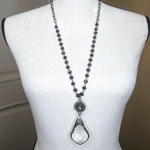 Jewelry - Crystal Pendulum Pendent Black Chain Link